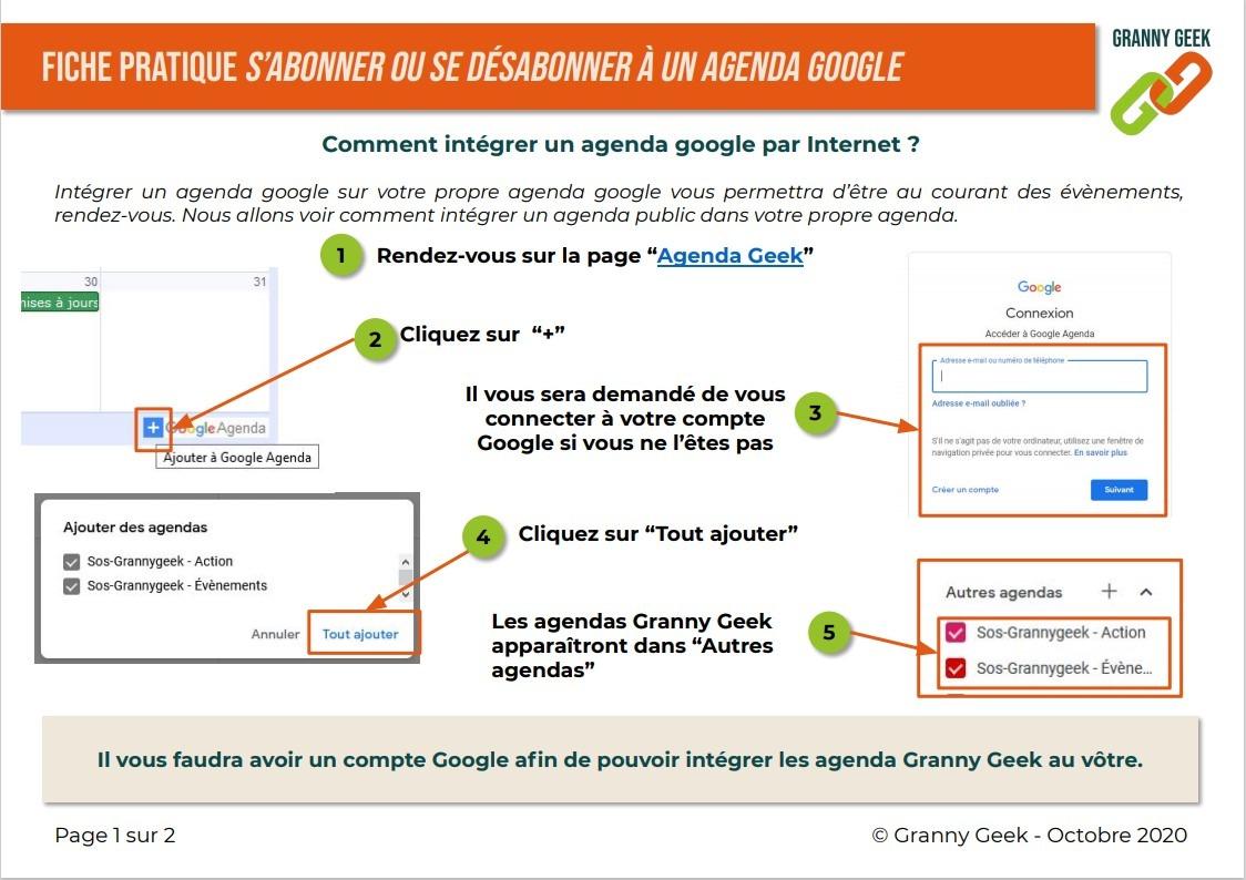 Fiche pratique intégrer un agenda google