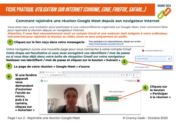 Fiche pratique rejoindre une réunion google Meet depuis son navigateur page 1