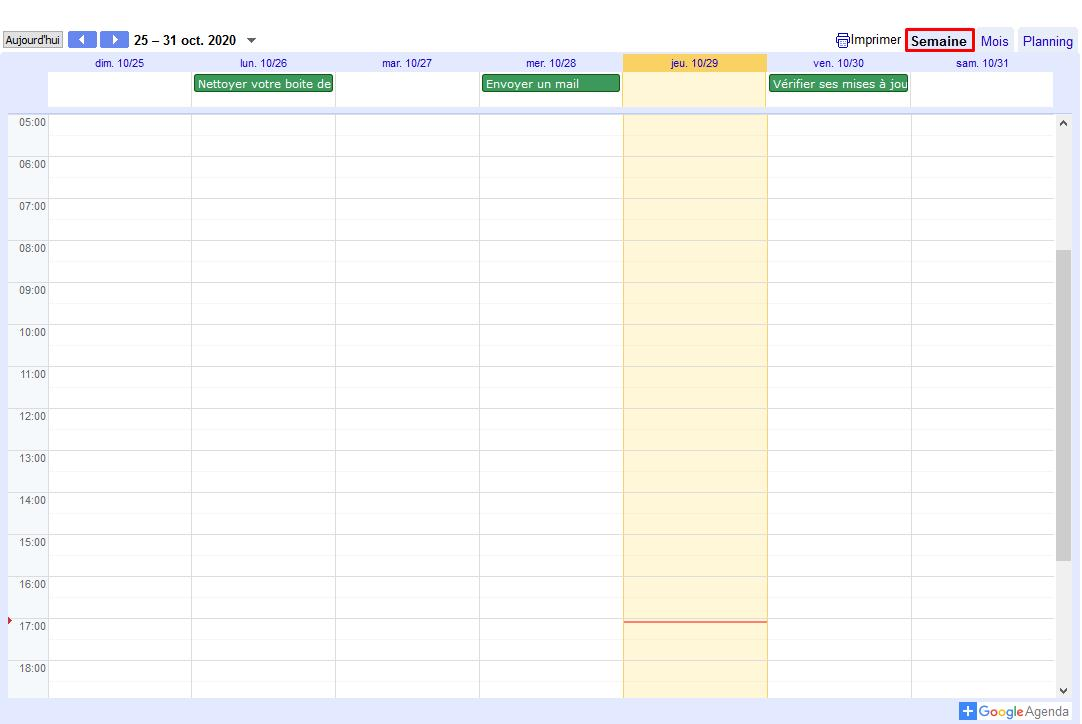 Agenda geek vue semaine