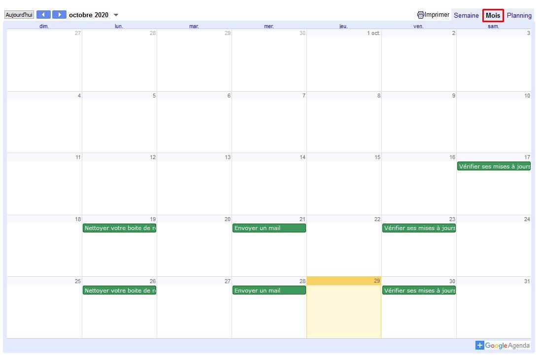 Agenda geek vue mois