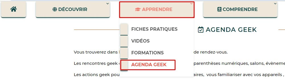 Agenda geek dans le menu