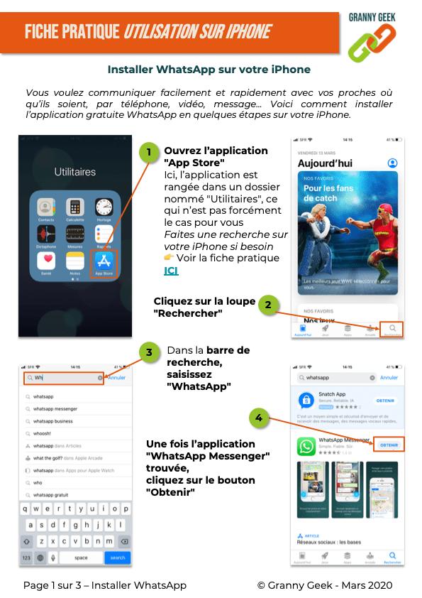 Fiche pratique installer WhatsApp sur iPhone page 1