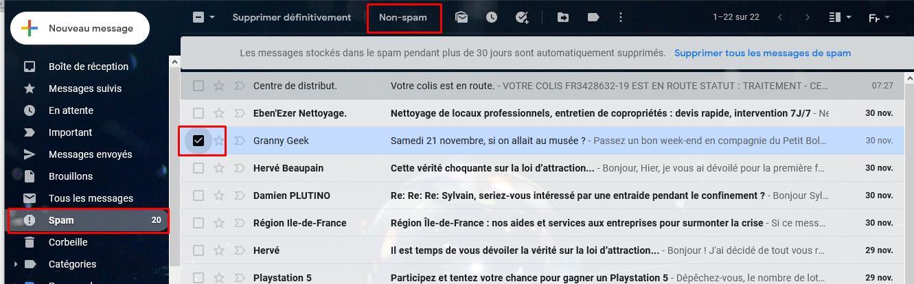 non spam gmail