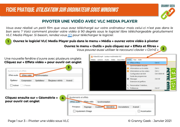 Fiche pratique pivoter une vidéo sous VLC