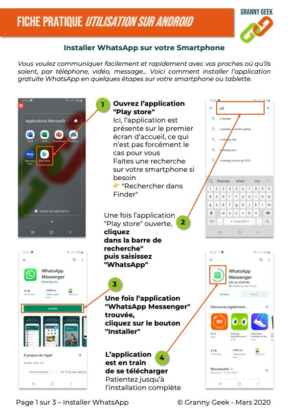 Fiche pratique Installer WhatsApp pour Android