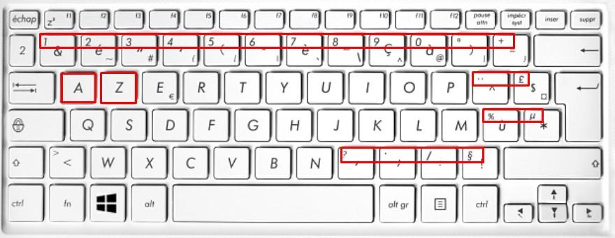 touche maj + clavier