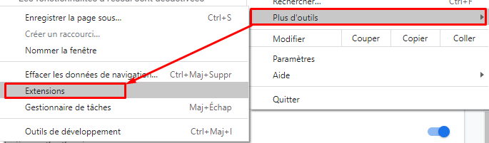Chrome accès aux extensions 1