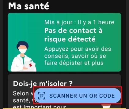 Scanner qr code tousanticovid étape 1