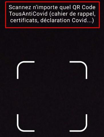 Scanner qr code tousanticovid étape 3